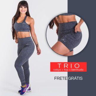 Trio: Calça + Top + Bermuda - Sprint Cinza